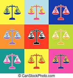styl, komplet, barwny, zamiana, sprawiedliwość, poznaczcie., skalpy, waluta, 3, colors., vector., ikony, pop-art