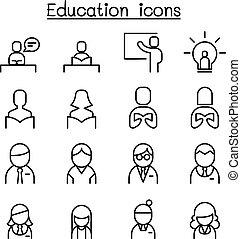 styl, komplet, &, cienki, nauka, kreska, wykształcenie, ikona