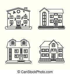 styl, komplet, cztery, domy, cienka lina