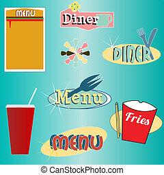 styl, komplet, diner, menu, wektor, retro