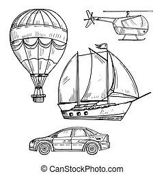 styl, komplet, doodle, powietrze, wektor, morze, ziemia, rysunek, przewóz