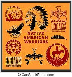 styl, komplet, elements., zachód, amerykański indianin,...