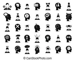 styl, komplet, idea, prosty, ludzki, ikona