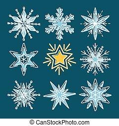 styl, komplet, kreska, płatki śniegu, cienki