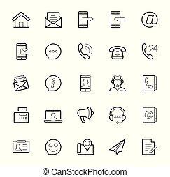 styl, komplet, na, kontakt, wektor, cienki, tło, kreska, biały, ikona
