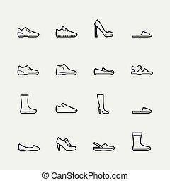 styl, komplet, obuwie, wektor, cienka lina, ikona