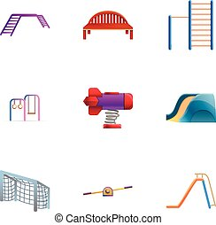 styl, komplet, park, plac gier i zabaw, rysunek, ikona