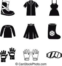 styl, komplet, pora, prosty, odzież, ikona