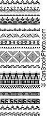 styl, komplet, próbka, plemienny, szczotki, etniczny, geometryczny