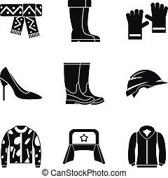styl, komplet, prosty, ruski, odzież, ikona