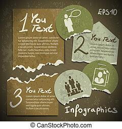 styl, komplet, scrapbooking, rocznik wina, porwany, kawałki, papier, infographics
