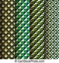 styl, komplet, seamless, geometryczny, wzory, retro
