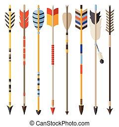 styl, komplet, strzały, indianin, etniczny, krajowiec