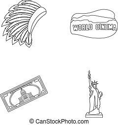 styl, komplet, szkic, mohavk, kino, kraj, symbol, ikony,...