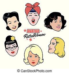 styl, komplet, women., 50, sześć, avatars, damski, retro,...