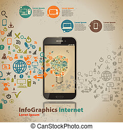 styl, komputer, rocznik wina, infographic, szablon, technologia, chmura