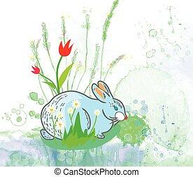 styl, królik, -, akwarela, tło, kwiaty, wielkanoc, karta