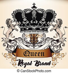 styl, królowa, logotype, starożytny, ornament., korona, lwy...