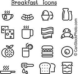 styl, kreska, cienki, śniadanie, ikony