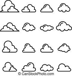 styl, kreska, cienki, chmura, ikona