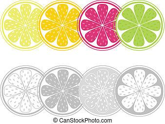 styl, kromki, cytrus, odizolowany, owoc, retro, biały