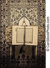 styl, książka, koran, filtrowany, święty, muslims, -, rocznik wina, fotografia