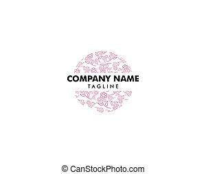 styl, kwiat, linearny, abstrakcyjny, wektor, projektować, szablon, logo
