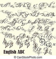 styl, lettere, inglese, abc, vendemmia