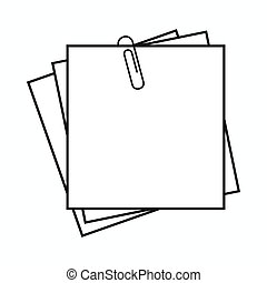 styl, listek, prosty, notatki, papier, ikona