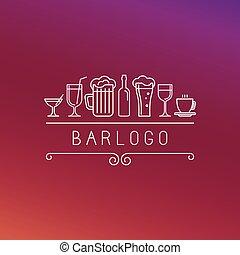 styl, logo, linearny, wektor, bar