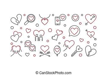 styl, lovesickness, ilustracja, wektor, cienka lina, minimalny