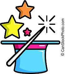 styl, magia, barwny, różdżka, ikona, kapelusz, rysunek