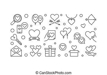 styl, miłość, emocje, wektor, cienka lina, chorągiew, minimalny