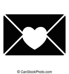 styl, miłość, prosty, litera, ikona, ładny