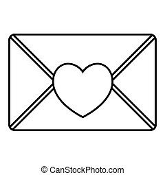 styl, miłość, szkic, litera, ikona, ładny