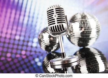 styl, muzyka, retro, tło, mikrofon