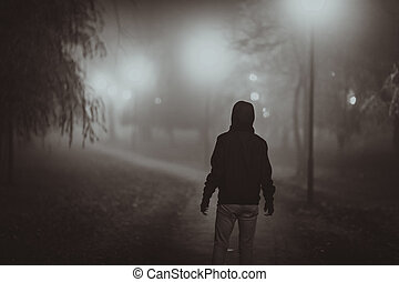 styl, noir, przerażenie, scena, jesień, oświetlenie, fog.,...