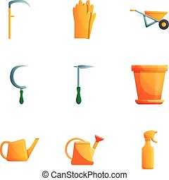 styl, ogród, komplet, ikona, narzędzia, rysunek, troska