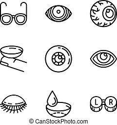 styl, oko, szkic, komplet, troska, ikona