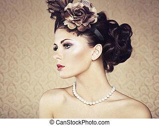 styl, piękny, portret, woman., retro, rocznik wina