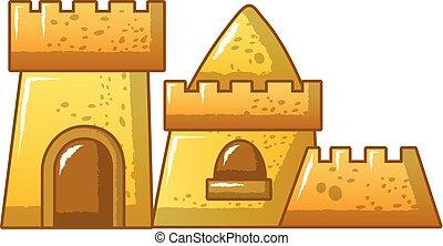 styl, piasek, ikona, wysoki, zamek, rysunek