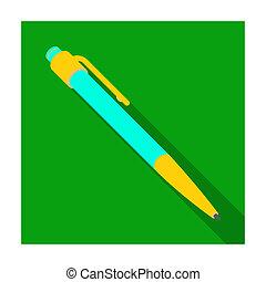styl, pień, piłka, pen., symbol, sprzęt, bitmapa, writing., schoolboy., ikona, pióro, płaski, jednorazowy, illustration., szkoła, wykształcenie