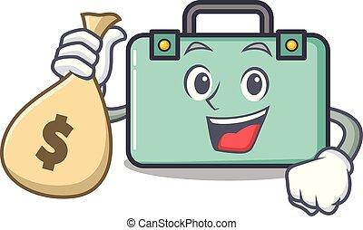 styl, pieniądze, litera, torba, walizka, rysunek
