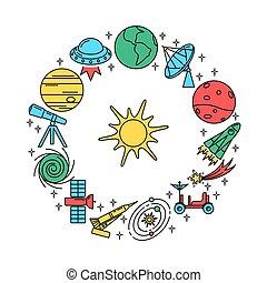 styl, pojęcie, przestrzeń, elementy, cienka lina, chorągiew, okrągły