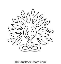 styl, pojęcie, yoga, szkic, natura, lotosowa poza