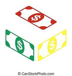 styl, poznaczcie., dolar, isometric, żółta nuta, zielony, icon., bank, czerwony