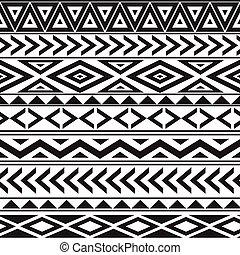 styl, próbka, seamless, czarnoskóry, etniczny, biały, geometryczny