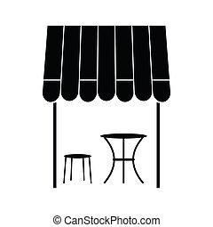 styl, prosty, francuski, ulica, ikona, kawiarnia