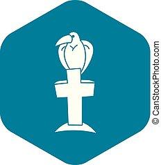 styl, prosty, krzyż, ikona, ptak, grób
