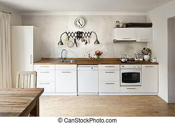 styl, przemysłowy, bardzo, nowoczesny, nowy, kuchnia